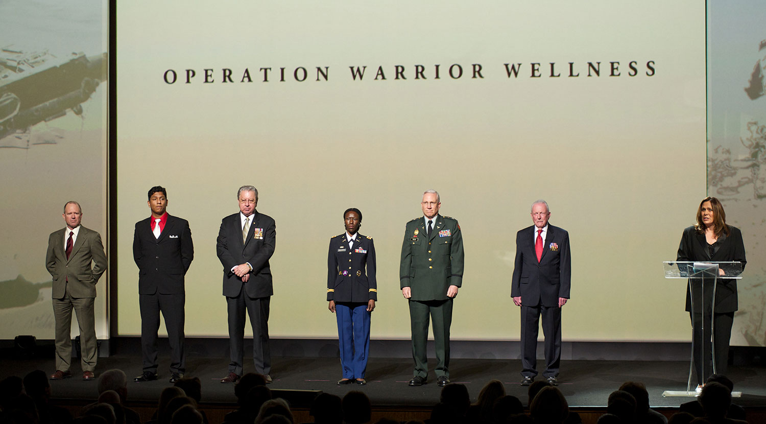 CNN anchor Candy Crowley stands with the leaders of Operation Warrior Wellness, the veterans division of the David Lynch Foundation