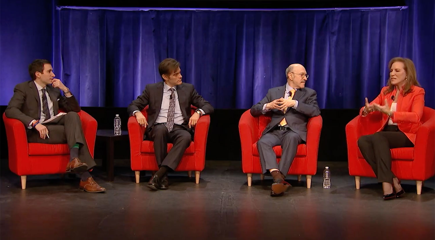From left: Andrew Ross Sorkin, Dr. Mehmet Oz, Dr. Norman Rosenthal  and Dr. Pamela Peeke