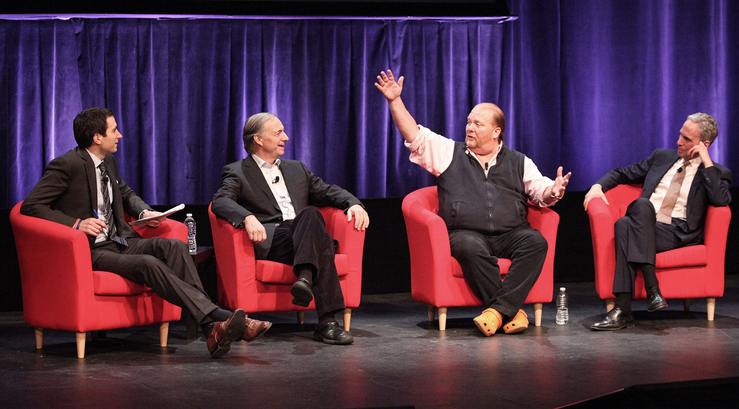 From left: Andrew Ross Sorkin, Ray Dalio, Mario Batali, and Bob Roth
